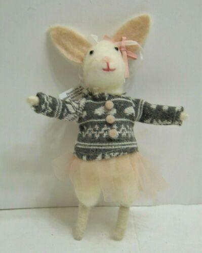 "Mouse Ballerina With TuTu Spun Cotton Ornament 7.5"" NEW"