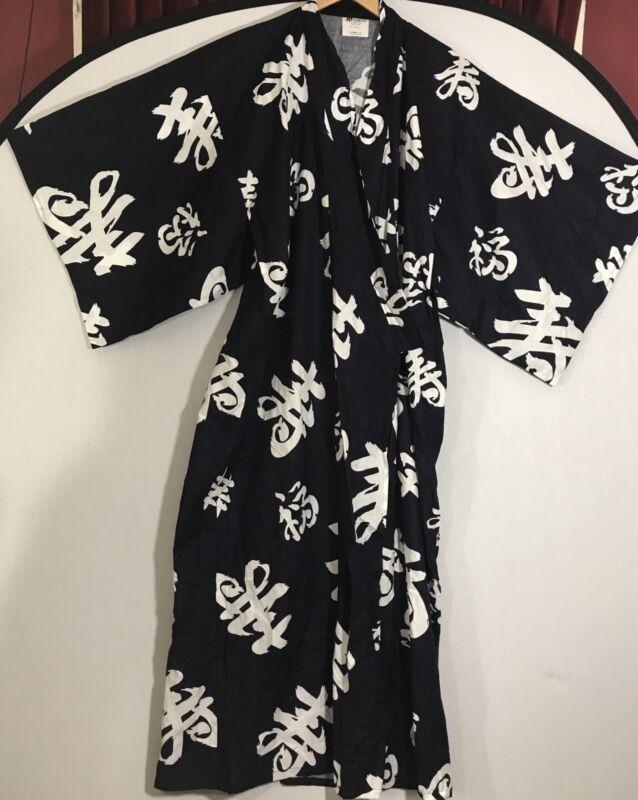 VINTAGE FP in Tokyo Kimono Robe Navy White 100% Cotton 58 Inches