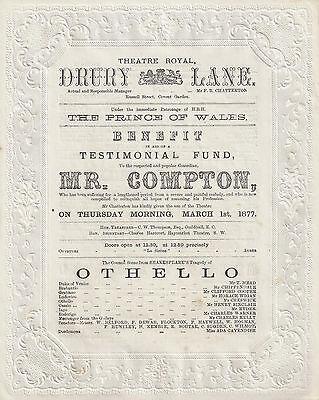 "Henry Compton ""OTHELLO"" Gilbert and Sullivan ""TRIAL BY JURY"" 1877 London Program"