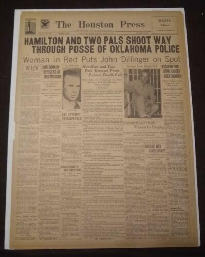 Vintage Houston Newspaper, July 23, 1934, Outlaw John Dillinger Killed
