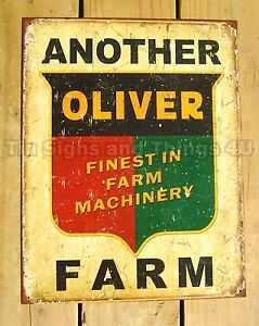 Oliver Farm Machinery TIN SIGN vtg metal wall decor only garage tractor ad 1775
