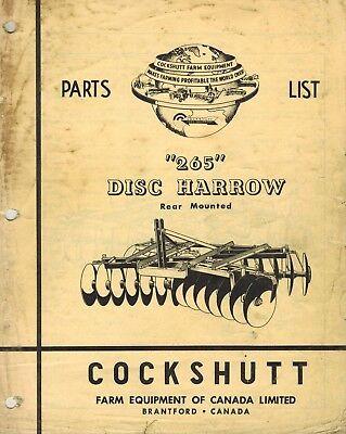 Cockshutt Original 265 Mounted Disc Harrow Parts Manual