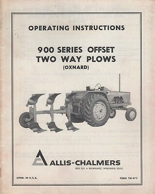 Allis-chalmers 900 Series Offset Two Way Plows Operator Manual Tm-472 080