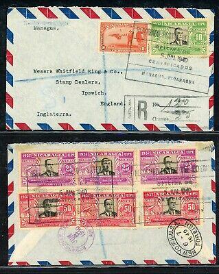 Nicaragua 75th Ann Postal History: LOT #30 1940 REG MANAGUA - IPSWICH UK $$$