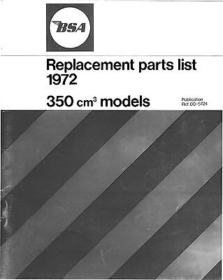 BSA 350cc Fury E35RE parts book