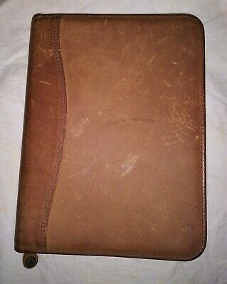 Franklin Covey Naturals Planner Binder Zippered 7 Ring Brown Leather