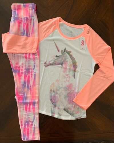 NWT Justice Girls Horse Graphic LS Raglan Tee & Pattern Leggings Outfit! 14!