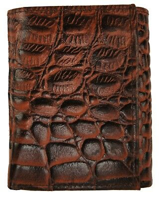 Crocodile Embossed Credit Card ID Cowhide Leather Brown Men's Trifold Wallet new