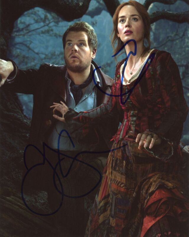 """Emily Blunt & James Corden """"Into the Woods"""" SIGNED 8x10 Photo"""