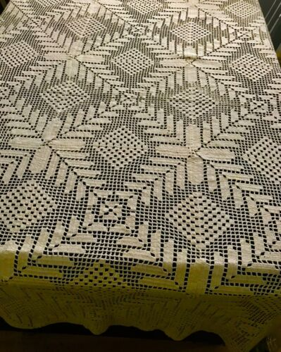 """Old Vintage Ivory Crochet Lace Tablecloth 60""""SQ Beautiful Geometrical Design"""