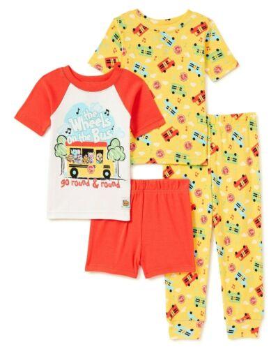 Cocomelon Pajamas Size 2T Boys Girl Toddler 4 Piece Set Cotton Wheels On The Bus