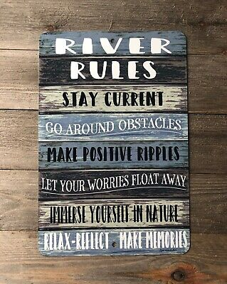 River Rules - Metal Sign - Lake Sign - Home Decor - River Advice River Sign ()