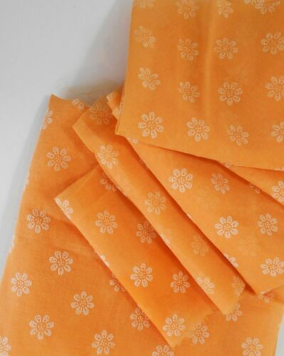 LOTS Vintage Orange Sheer Voile With Flocked Daisies- See List For Piece Sizes