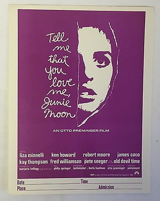 Distributor's Promo movie Flyer~ TELL ME THAT YOU LOVE ME, JUNIE MOON, 8.5 x 11