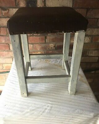 Vintage Hardwood Stool Brown Leather & Stud Top Badly Painted