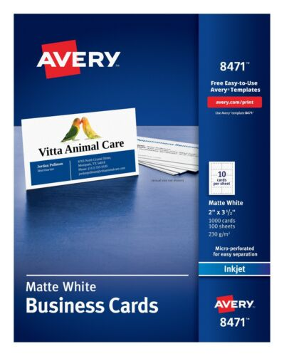 Avery Matte White Business Cards. 1000 cards 100 Sheets, Brand New