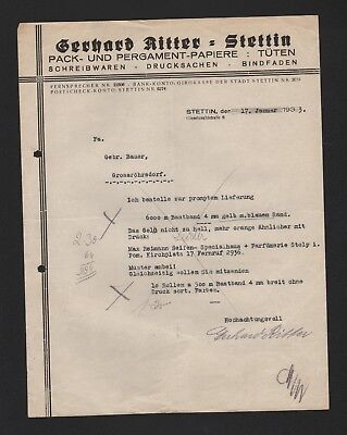 STETTIN, Brief 1933, Gerhard Ritter Pack-Pergament-Papiere