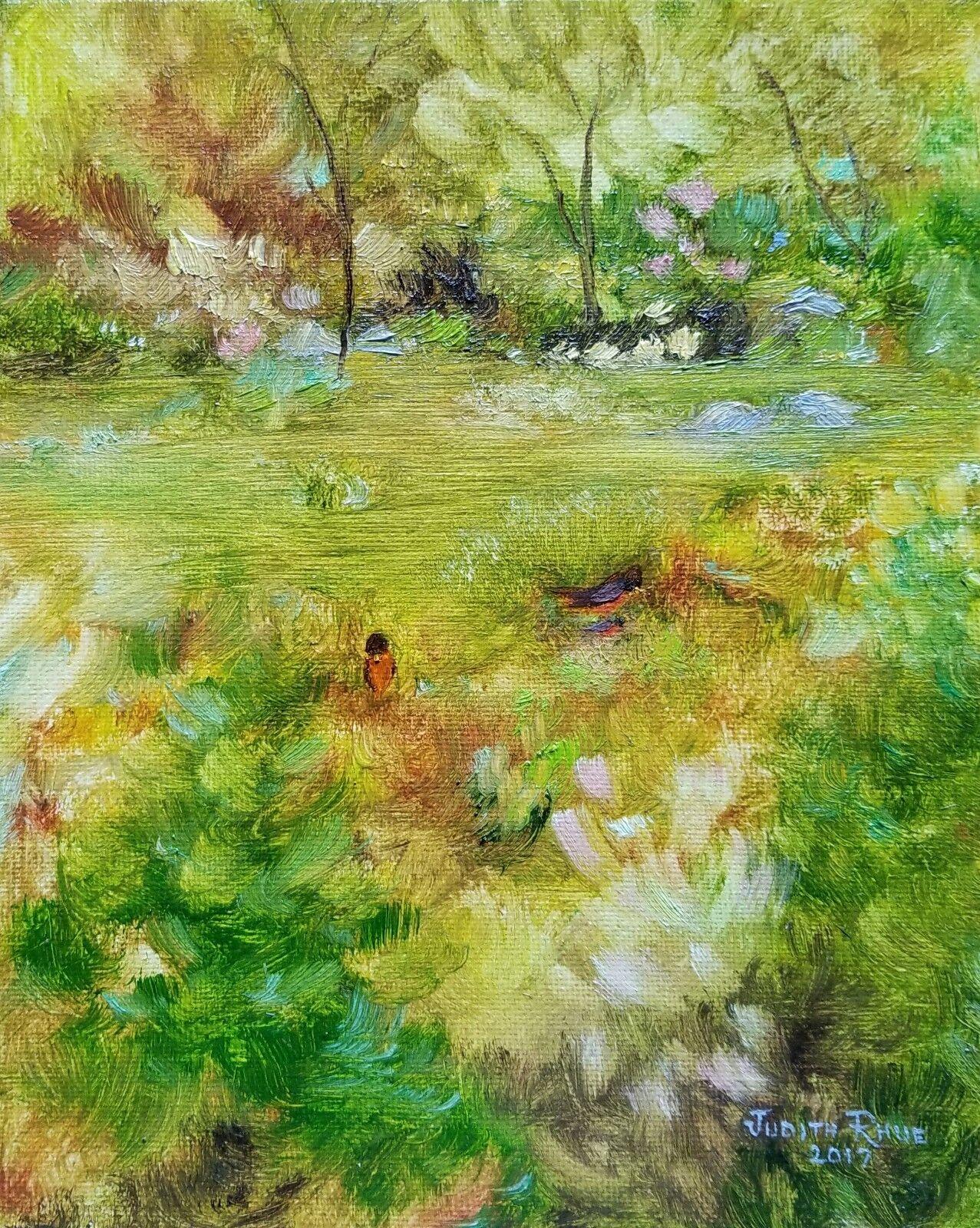 Original Oil Painting Landscape Robin Spring Trees Bird 8 x10 Canvas Signed Art - $100.00
