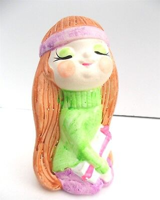 Cute Hippie Girl (Vintage Cute HIPPIE GIRL MOD COIN BANK Taiwan Composition with Stopper 1960s)