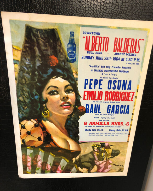 Vintage Bull Fighting Poster from 1964 Juarez Mexico!Very Good Condition For Age