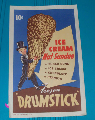 Vintage 1940s DRUMSTICK Ice Cream Parlor Advertising Sign Poster Litho