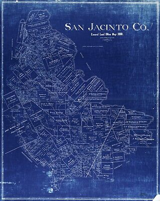 A4 Reprint of American Cities Towns States Map San Jacinto County Texas