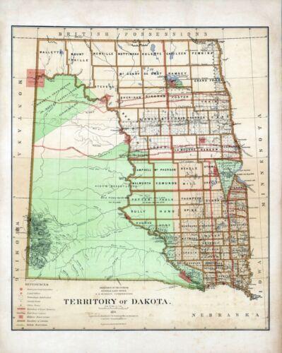 1876 Department Interior MAP Territory Dakota Geographical political 8