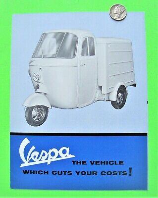 RARE ca 1962 VESPA  APE SCOOTER / 3-WHEEL VAN / PICK-UP FOLDER BROCHURE Xlnt+++