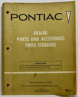 Pontiac Dealer Parts and accessories price schedule 1978