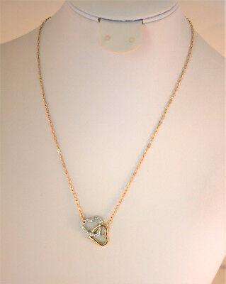 High end designer genuine crystal Gold Tone Crystal Double Heart Necklace Designer Crystal Double Heart