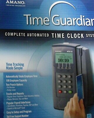 Amano Complete Automated Time Clock System Mtx-15a300 Swipe Card Payroll