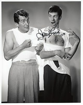 JERRY LEWIS autographed 8x10 photo      GETTING SHIRT RIPPED BY DEAN MARTIN