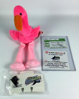 Pinky Flamingo Ty Beanie Baby Tampa Bay Devil Rays Kansas City Royals 1998 & Pin](Devil Babies)
