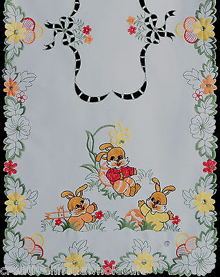 Embroidered Easter Bunny Egg Floral Placemat Table Cloth Runner Spring New 6709 - Runner Table Cloth