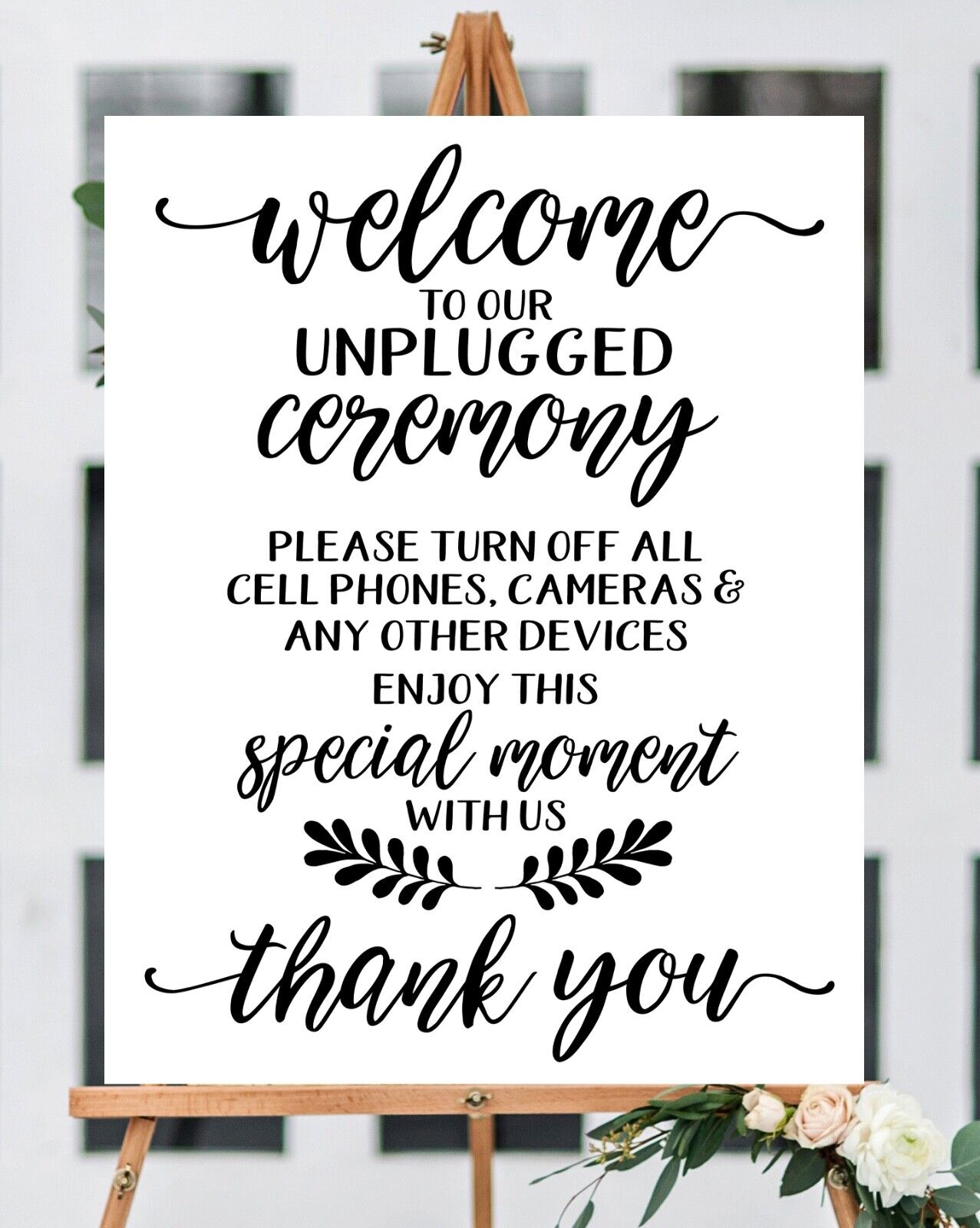 "~ UNPLUGGED ~Elegant /Wedding Welcome Sign~ Print 11''X 14"""""