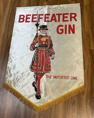 """9/23) 43x29""""Vtg Rare BEEFEATER Gin 1950's Silk Tapestry Flag """"The Imported One"""""""