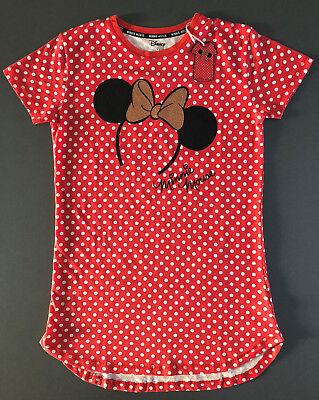 Disney Damen Nachthemd Mickey Mouse Minnie Maus Kurzarm Schlafshirt 34-36 Rot ()