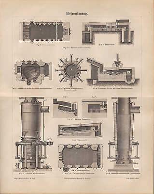Lithografien 1886: Bleigewinnung. Blei Flamm-Schacht-Ofen Kessel