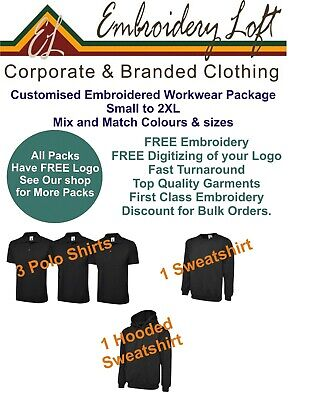 EMBROIDERED WORKWEARPACKAGE MANPACK 3 INCLUDES EMBROIDERED LOGO & SET-UP