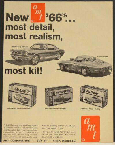 1966 AMT Model Print Ad Mustang Fastback Sting Ray Galaxie Thunderbird Wildcat