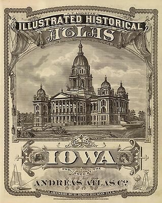 216 maps IOWA STATE 1875 ILLUSTRATED HISTORICAL ATLAS Andreas DVD A45