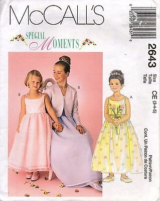 Flower Girl Dresses With Jackets (McCall's Sewing Pattern 2643 Flower Girl Dress with Lined Jacket Size 3-4-5)
