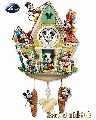 "BRADFORD EXCHANGE ""MICKEY THROUGH THE YEARS"" CUCKOO CLOCK -MUSIC & MOTION !-NEW"