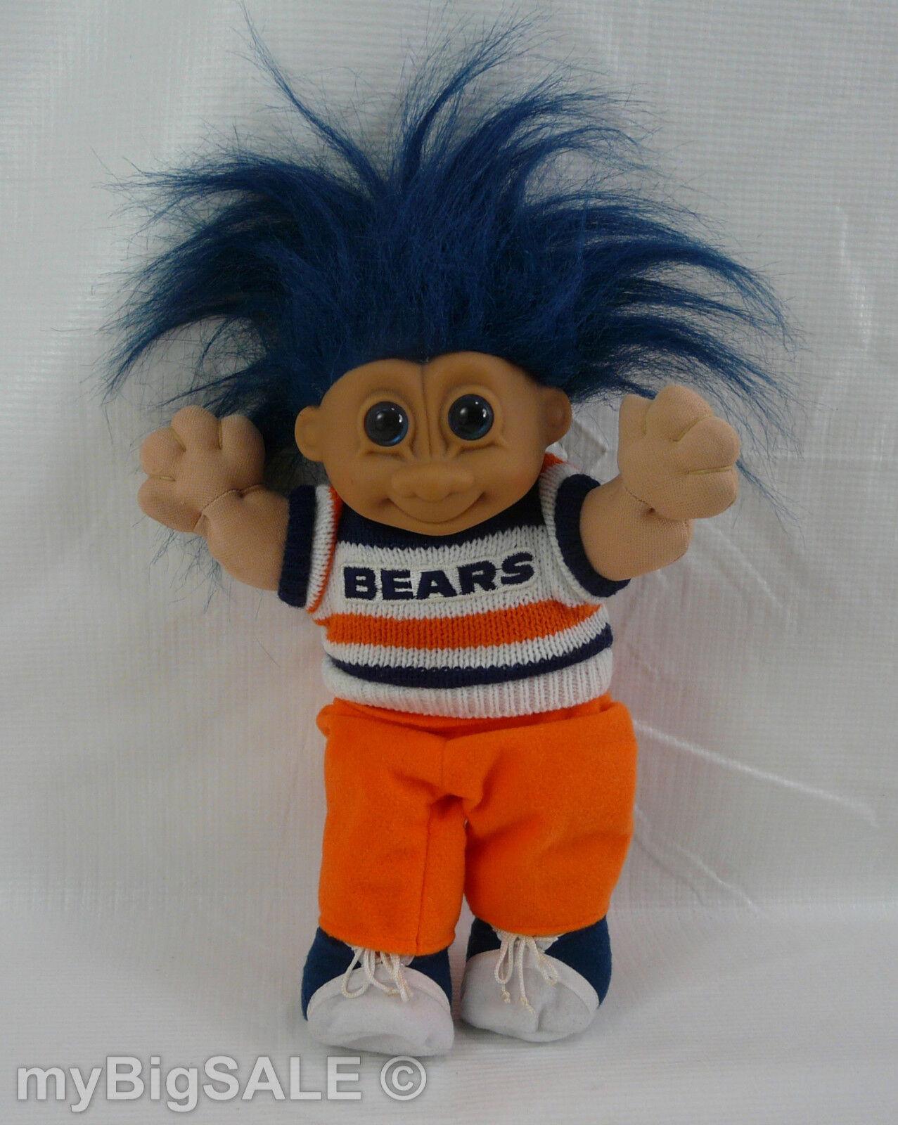 NFL Chicago Bears Troll Russ Good Luck Plush Body Vinyl Head Blue Hair 9.5 VTG - $16.95