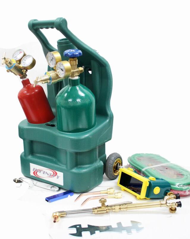 Complete Welding Cutting Torch Kit Oxygen Acetylene Regulator & Tanks Hose Tote