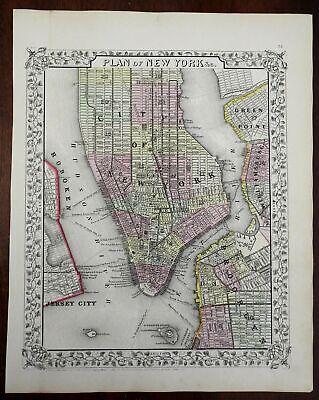 New York City detailed city plan Manhattan Brooklyn Hoboken 1866Mitchell map