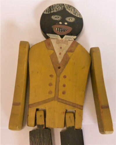 "Colorful Antique Polychrome Wood Folk Art Dancing Toy Man 14"""