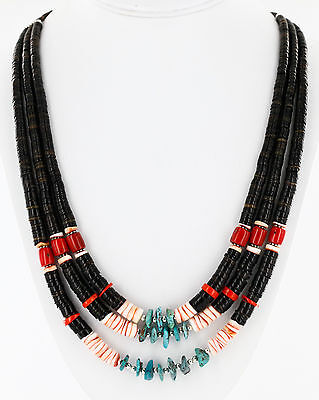 $380Tag 3 Strand Silver Navajo Graduated Turquoise Coral Native Necklace
