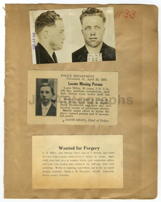 Wanted Posters - 3 Vintage Notices - Various Locations - 1924