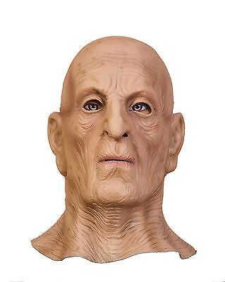 Creepy Vinyl Old Man Mask Scary Face Halloween Costume Wrinkled Skin Bald - Bald Old Man